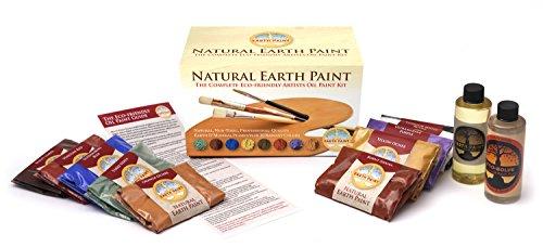 Pintura al óleo no tóxica, pintura natural para earth - diez (10) pigmentos de color natural (60 g) con 120 ml de aceite de nogal natural y eco-solve thinner