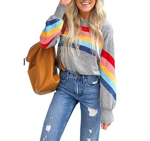 Women's Retor Rainbow Sweatshirt, Grey, S, M, L