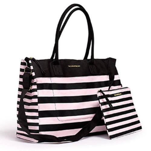 Victoria's Secret 2016 Canvas Signature Stripe Weekender Tote Bag & Matching Carryall, NEW!