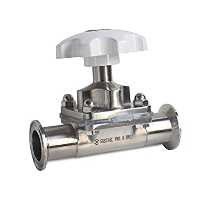 """Sanitary Stainless Steel 316L Tri-Clamp OD 64mm Diaphragm Valve Silicone Seal (1.5"""") from TUQI"""