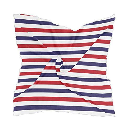 Fashion Damen Schal, quadratisch, Rot / Weiß / Blau, gestreift, für Kopf / Hals, Seidengefühl