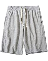CZZSTANCE Mens Shorts Casual Cotton Workout Drawstring Summer Beach Shorts with Elastic Waist and Pockets Gray