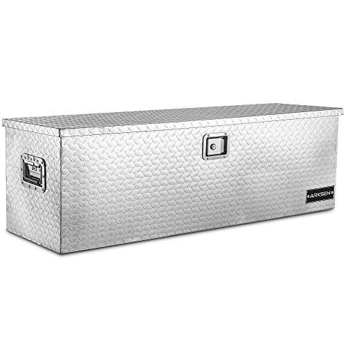 ARKSEN 49' Aluminum Diamond Plate Tool Box Pick Up Truck Bed Storage Chest Box RV Trailer Organizer Lock W/Key, Silver