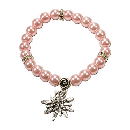 Alpenflüstern Perlen-Trachten-Armband Fiona mit Strass-Edelweiß - Damen-Trachtenschmuck, elastische Trachten-Armkette, Perlenarmband rosé-rosa DAB011
