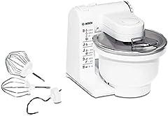 Bosch MUM4 MUM4405 keukenmachine (500 W, 3 roestvrijstalen roergereedschappen, vaatwasser klaar, grote mengkom 3,9 liter, max. deeghoeveelheid: 2,0 kg, 4 schakelfasen) wit*