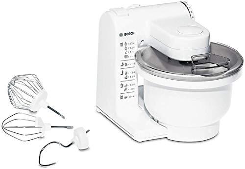 Bosch MUM4 MUM4405 Küchenmaschine (500 W, 3 Rührwerkzeuge aus Edelstahl, spülmaschinengeignet, große Rührschüssel 3,9 Liter, max. Teigmenge: 2,0kg, 4 Schaltstufen) weiß