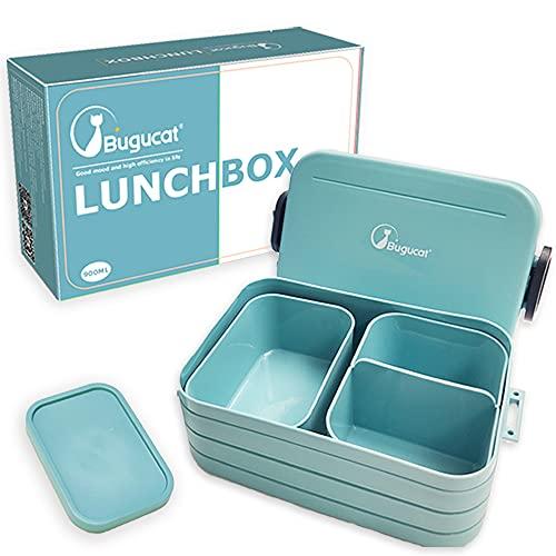 Bugucat Lunchbox, Bento Box Brotzeitbox Auslaufsicher Luftdichte Brotdose mit Fächern, Vesperdose Frühstücksbox Geeignet für Mikrowellen und Spülmaschinen, Brotbüchse für Kinder Erwachsene