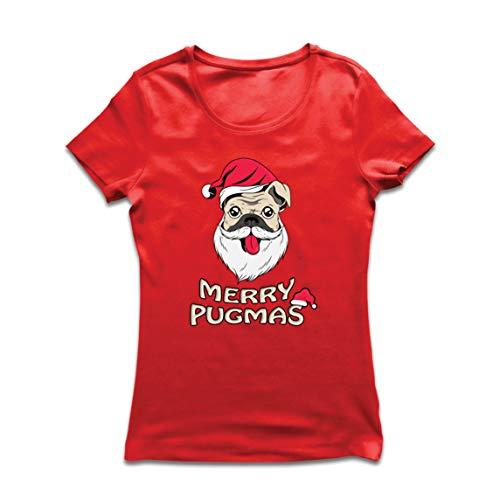 lepni.me Vrouwen T-shirt Vrolijke Pugmas, Grappige Kerstmis hondenliefhebbers cadeau, gelukkig mopleven