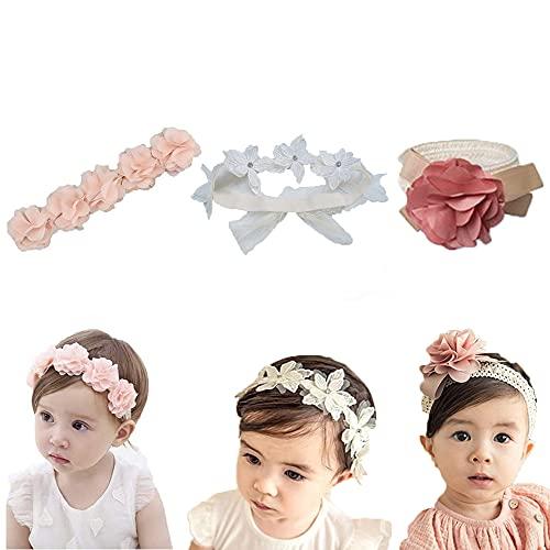3 Stück Baby Stirnbänder, Neugeboren Stirnband, Bögen Kinder Haarschmuck, Kopfband Blumen, Blüte Haarschmuck, für Baby, Mädchen, Kleinkind, Kinder als Party, Fotozubehör (3 Farben)