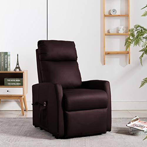 FAMIROSA Elektrisk reclinerfåtölj med uppresningshjälp brun konstläder (47,85kg)
