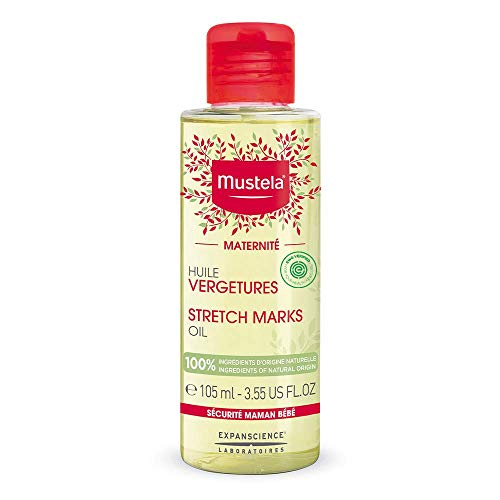 Mustela Maternity Stretch Marks Oil with 100% Natural Ingredients & Avocado Oil, Fragrance Free, 3.55 Fl Oz
