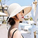 Sombrero de Paja Flexible de ala Ancha Plegable,Sombrero para el Sol, Sombrero para el Sol Plegable, Sombrero de Paja con Borde de Proa de ala Ancha-Huami Los 56-60cm