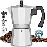 Zulay Classic Stovetop Espresso Maker for Great Flavored Strong Espresso, Classic Italian Style 8 Espresso Cup Moka Pot, Makes Delicious Coffee, Easy to Operate & Quick Cleanup Pot