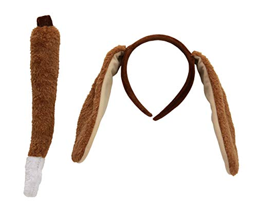 Puppy Dog Costume Animal Ears and Tail Accessory Kit for Kids and Adults