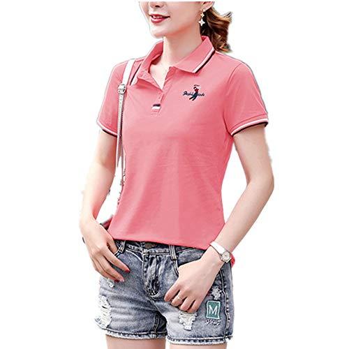 Leading - Camiseta de manga corta para mujer, casual, suelta, para verano, para mujer Wb8553 Polvo de pasta de frijoles XXL