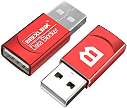 USB Data Blocker (2-Pack), BrexLink Charge-Only USB Blocker Adapter for Blocking Data Sync, Protect Against Juice Jacking Compatible W. iPhone, iPad, Samsung Phones, Tablets and More Devices - Red