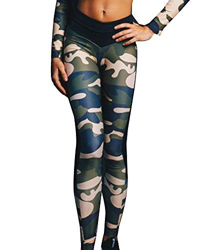 Femmes Manches Longues Camouflage T Shirt Leggings Pantalons De Sports Workout Gym Fitness Vert Pantalon S
