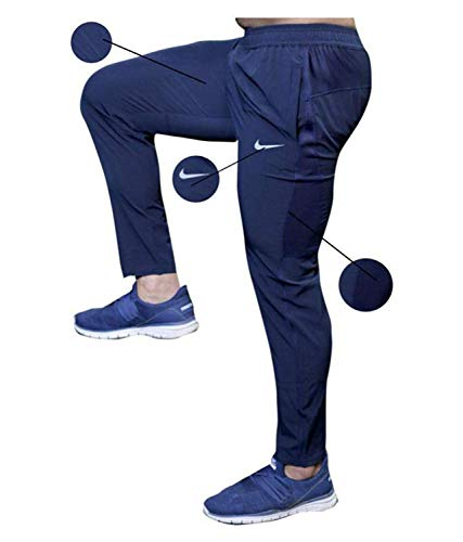BuyBack Men's Cotton Track Pants, Joggers, Night Wear Pajama, Sports Gym, Lower with Zip Pockets (Blue, Large)
