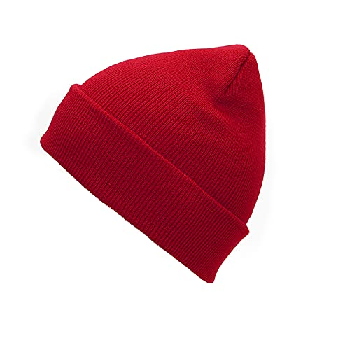 Durio Red Beanie for Men Soft Knit Beanie Hats for Men Women Unisex Winter Warm Beanie Mens Skullies & Beanies 01 Red