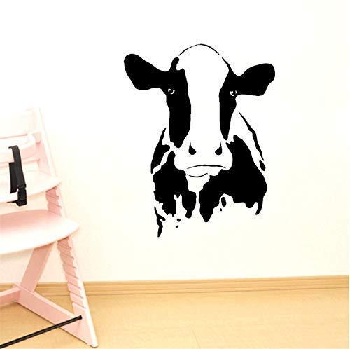 Cute Cow Head Wall Art Tatuajes de pared Animal de granja Vaca Vinilo Etiqueta de la pared Hogar Nevera Granja Sala de estar Decoración pastoral 53X42Cm
