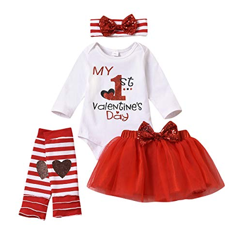 Newborn Infant Girl Skirt Set Baby Clothes My 1st Valentine's Day Romper+Tulle Tutu Skirt+Leggings Outfits (3-6 Months, My 1st Valentine's Day Red Skirt Set)