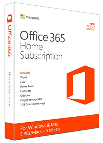 Microsoft Office 365 Home - 5PCs/MACs - 1 Jahres Abonnement (Product Key Card ohne Datenträger) - englisch