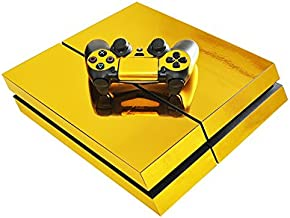 Chickwin PS4 Vinyl Skin Full Body Cover Sticker Decal For Sony Playstation 4 Console & 2 Dualshock Controller Skins (Gold Glossy)
