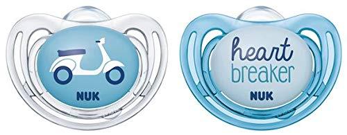 NUK 10175243 Freestyle Siliconen speen met ring en box, BPA-vrij, 0-6 maanden, blauw