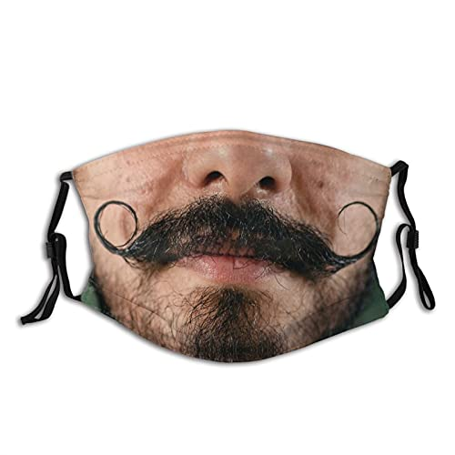 gmani Curly Hipster Moustache Face Mask Washable Reusable Adjustable Breathable Cloth Balaclavas for Adult Men Women