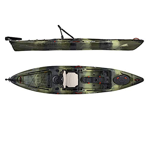 Vibe Kayaks Sea Ghost 130 13 Foot Angler Sit On Top Fishing Kayak with Adjustable Hero Comfort Seat and Transducer Port and Rod Holders and Storage and Rudder System Included (Hunter camo)
