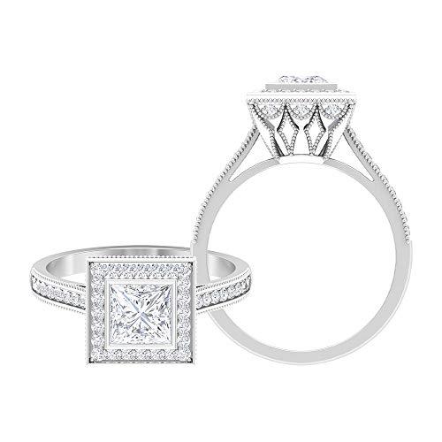 Rosec Jewels 14 quilates oro blanco talla princesa Round Brilliant Moissanite