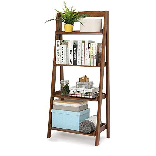 YM-LS Vintage Leiter Regal, 4 Tier Holzleiter Bücherregal, Multifunktions Pflanze Blume Buch Display Regal für Wohnzimmer Schlafzimmer,A