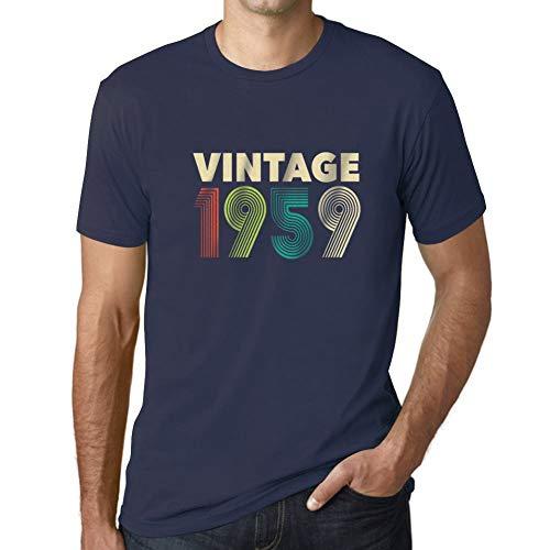 Ultrabasic - Hombre Camiseta Gráfico tee Shirt Vintage 1959 T-Shirt Marine Francés