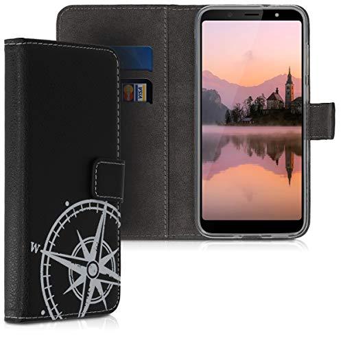 kwmobile Wallet Case kompatibel mit HTC U12 Life - Hülle Kunstleder mit Kartenfächern Stand Kompass Vintage Weiß Schwarz