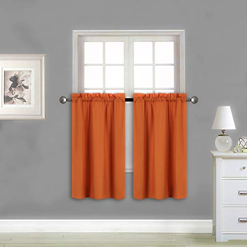 Home Collection 2 Panels 100% Blackout Curtain Set Solid Color with Rod Pocket Grommet Long Short Tier Drapes for Kitchen, Dinning Room, Bathroom, Bedroom,Living Room Window (Orange, 58