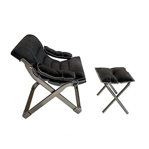 Lounge Chair & Ottoman Modern Chaise Lounge Sessel mit Fußhocker Lounge Tischstuhl mit Fußstütze Kristall Samt,Schwarz