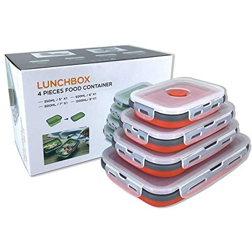 professionnel comparateur Un ensemble de 4 boîtes de rangement pliables en silicone avec couvercles et une boîte de pique-nique portable… choix