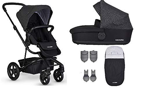 Easywalker Harvey² Kinderwagen + Babywanne + Fußsack + Adapter für Autositz + Höhenadapter Night Black - schwarzes Gestell