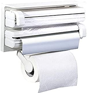 3 in 1 Foil Cling Film Tissue Wrap Aluminium Kitchen Triple Paper Roll Dispenser Hanger Stand Organizer & Holder for Kitch...