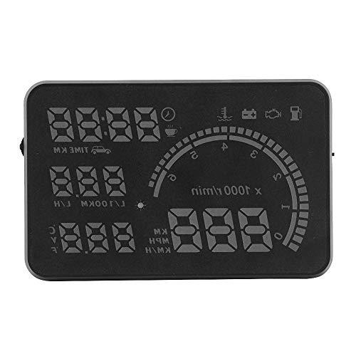 HUD Head Up Meter para automóvil - Pantalla digital Head Up para automóvil de 5.5 pulgadas - Monitor HUD multifuncional - Conducción segura Proyector OBD2 universal Sin fantasmas Proyector