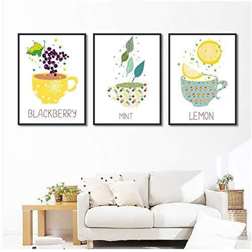 NIESHUIJING mode decoratie Nordic kleine verse fruitschaal decoratief schilderij restaurant muurkunst print-50x70cm geen lijst