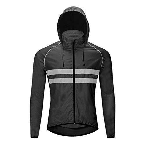Beylore Chaqueta de ciclismo impermeable para hombre y mujer, con capucha oculta, transpirable, de alta visibilidad, para ciclismo y correr, color negro, XXL
