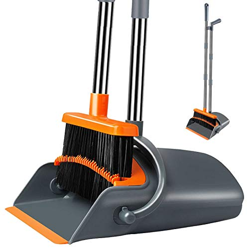 Kelamayi Broom and Dustpan,Dust Pan and Broom Set Standing Upright,Elegant & Durable Broom Dustpan with Stainless Long Handle Optional Length, Ideal for Kitchen Home Office (Gray & Orange)