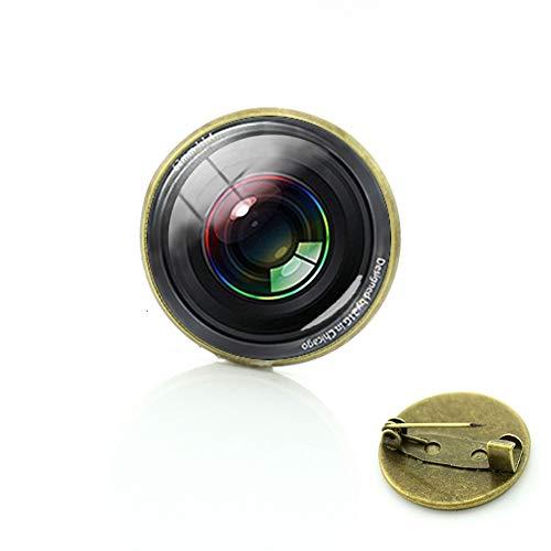 Fotografía Cámara Lente Broches DSLR Lentes Arte Imagen Cristal Cabujón Dome Badge Popular Pins Joyería Regalos