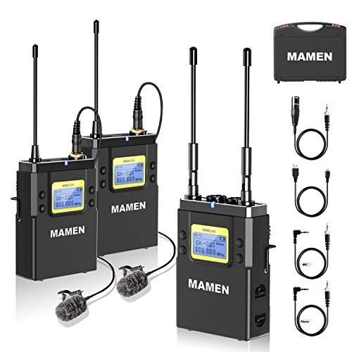 MAMEN Wireless Microphone System, 50-Channel UHF Wireless Lavalier Microphones with 1 Receiver, 2 Transmitters, Dual Wireless Lapel Mics for iPhone DSLR Cameras (330' ft Audio Range)