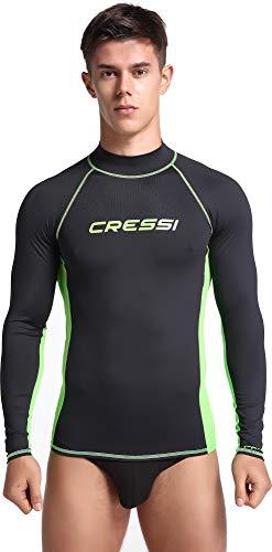 Cressi Herren Rash Guard Lange Ärmel aus elastischem Stoff für Erwachsener UV-Schutz (UPF) 50+, Schwarz/Kiwi, S/2 (48)