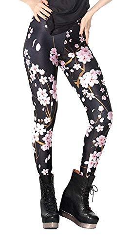 Tamskyt Damen Leggings mit Galaxie-Stern-Motiv, hohe Taille, dehnbar Gr. One size , Schwarze Pfirsichblüte