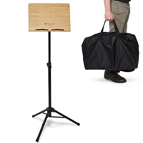 Notenständer Holz - Sehr stabiles und klappbares Notenpult mit Tasche |Für Kinder und Erwachsene Musiker an der Geige und Gitarre geeignet, ideal für Stehmusiker