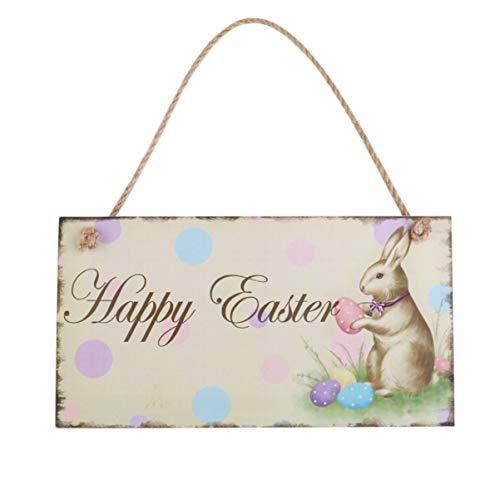 luoem Decoration Paques Happy Easter–Placa de madera decorativa Vintage (huevo conejo de Paques)