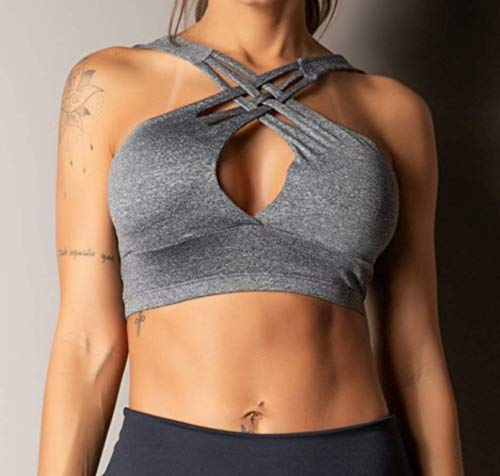 D.M. Top Sujetador Deportivo Mujer Fitness con Almohadillas, Escote Frente Entrelazado, Yoga Running Gym Crossfit